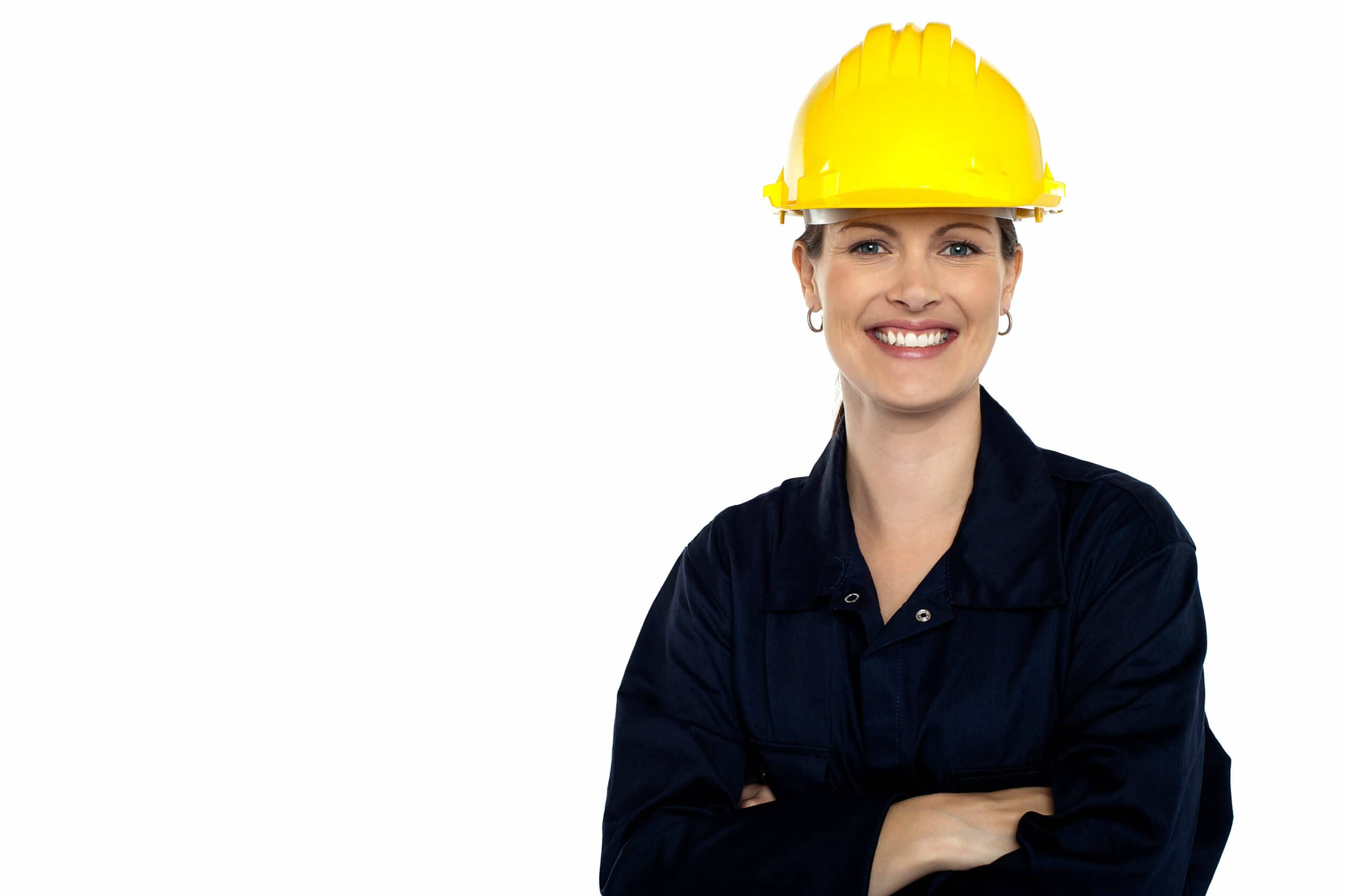 Beaming construction worker wearing yellow safety helmet. Cheerful portrait