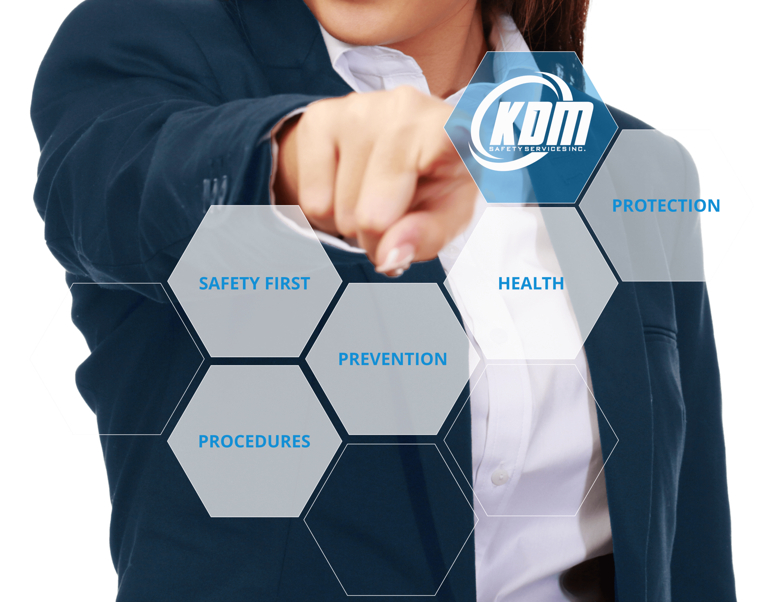 Female pointing to KDM Safety Services Logo